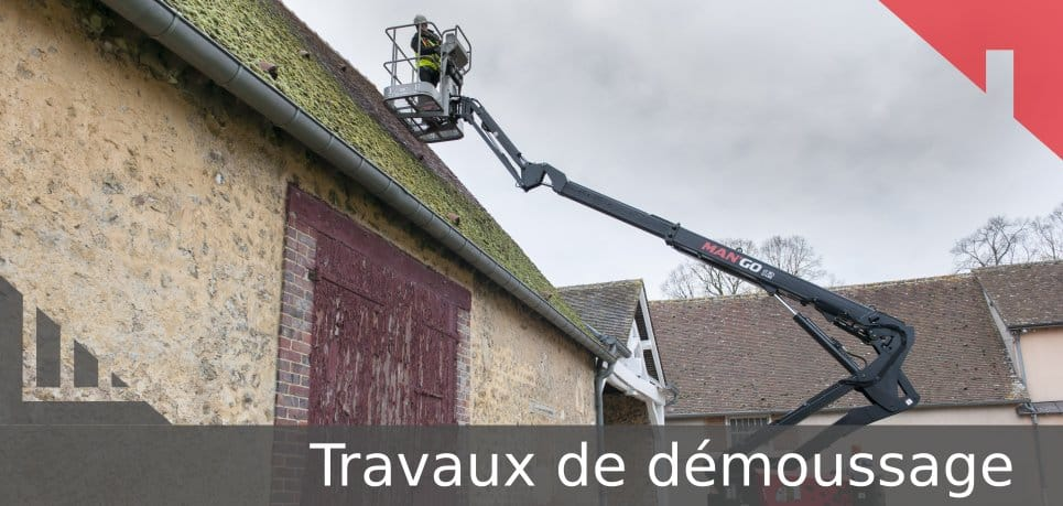 travaux démoussage toit location nacelle